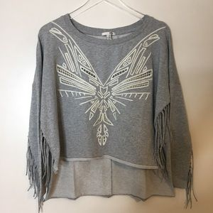 Amuse Society Gray Fringe Pullover. Size XS